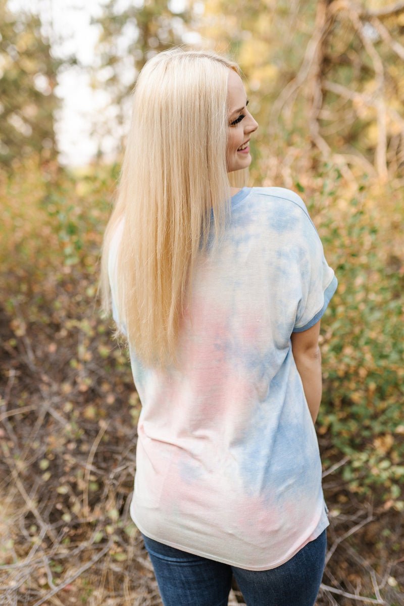 Living Our Best Life Tie Dye Top In Blue