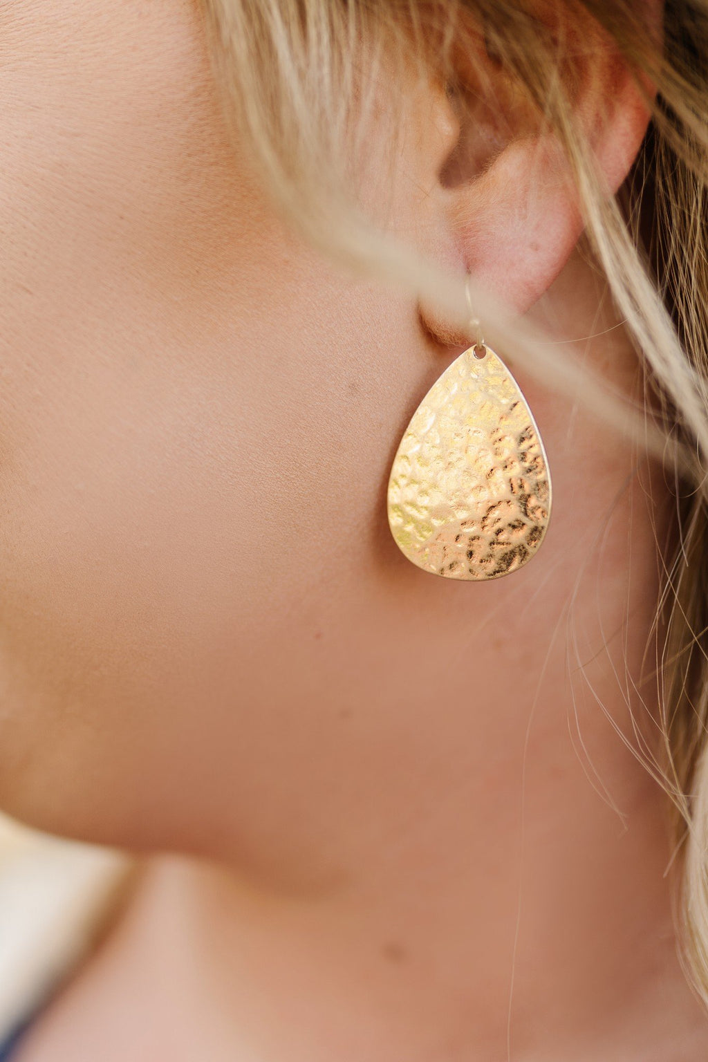 Hammered Teardrop Earrings in Worn Gold