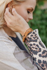 Faux Suede Corded Bracelet with Antique Gold Accents
