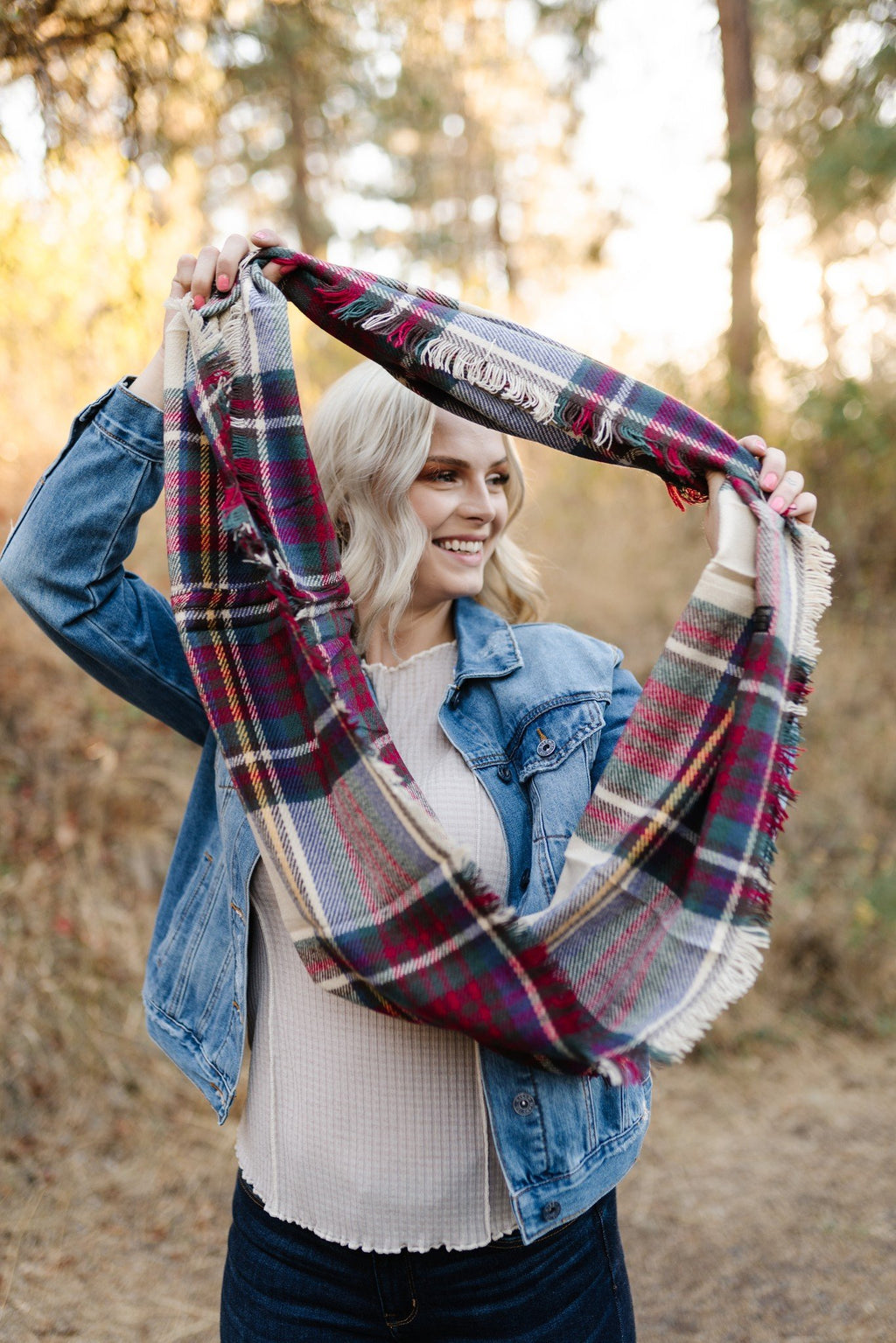 All Tied Up In You Fall Colors Plaid Infinity Scarf