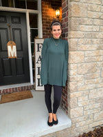 Hunter Green Mock Neck Swing Tunic