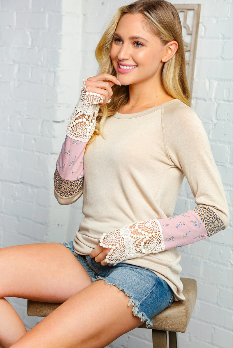 TAUPE COLORED LEOPARD FLORAL PRINT LACE SLEEVE TOP
