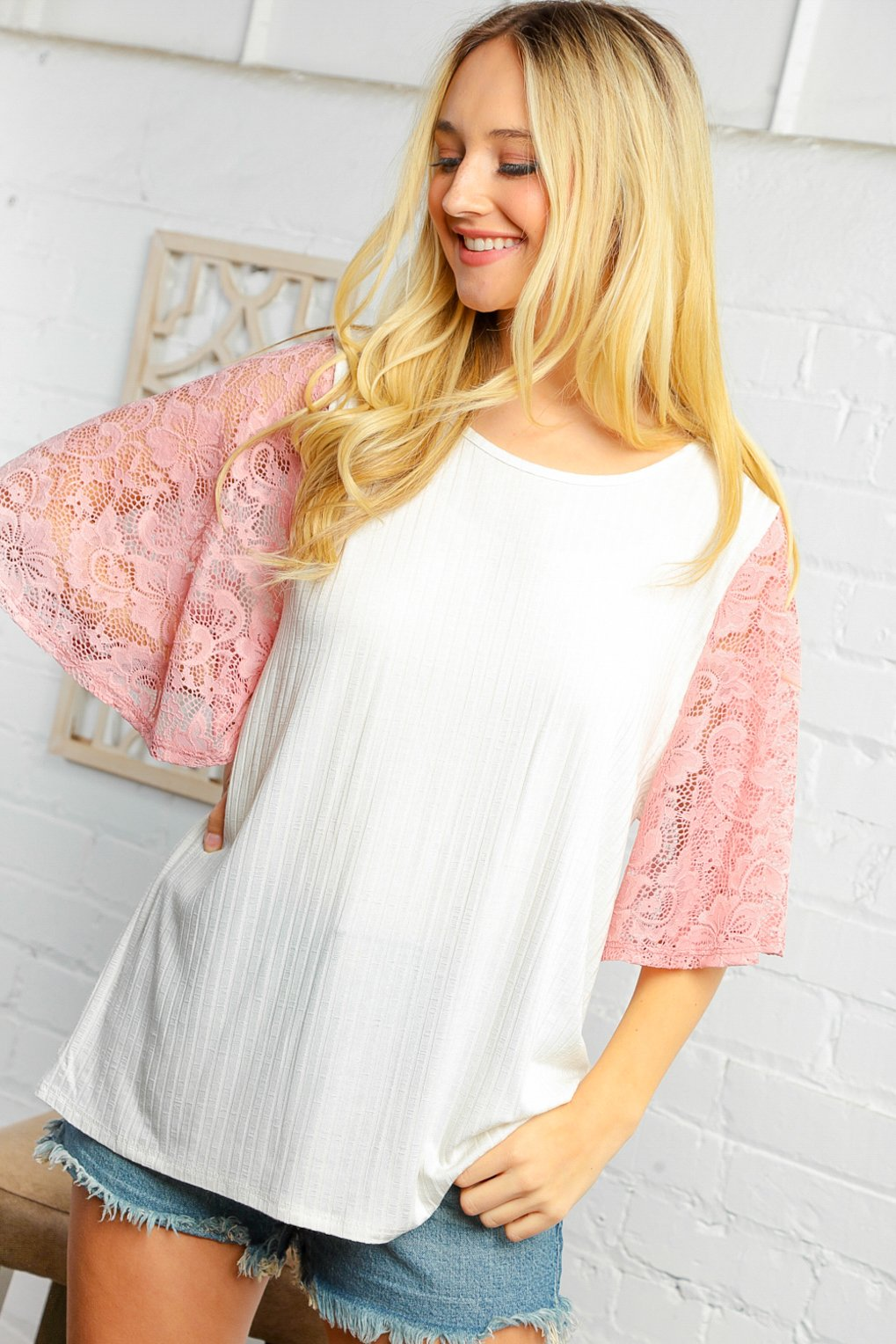 Rib Knit Lace Flutter Sleeve Top
