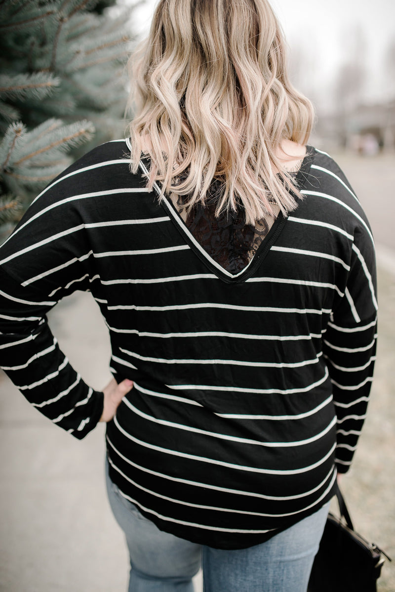 Seize The Moment Black Lace Striped Top