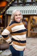 Keep Me In Mind Color Block Sweater In Mocha