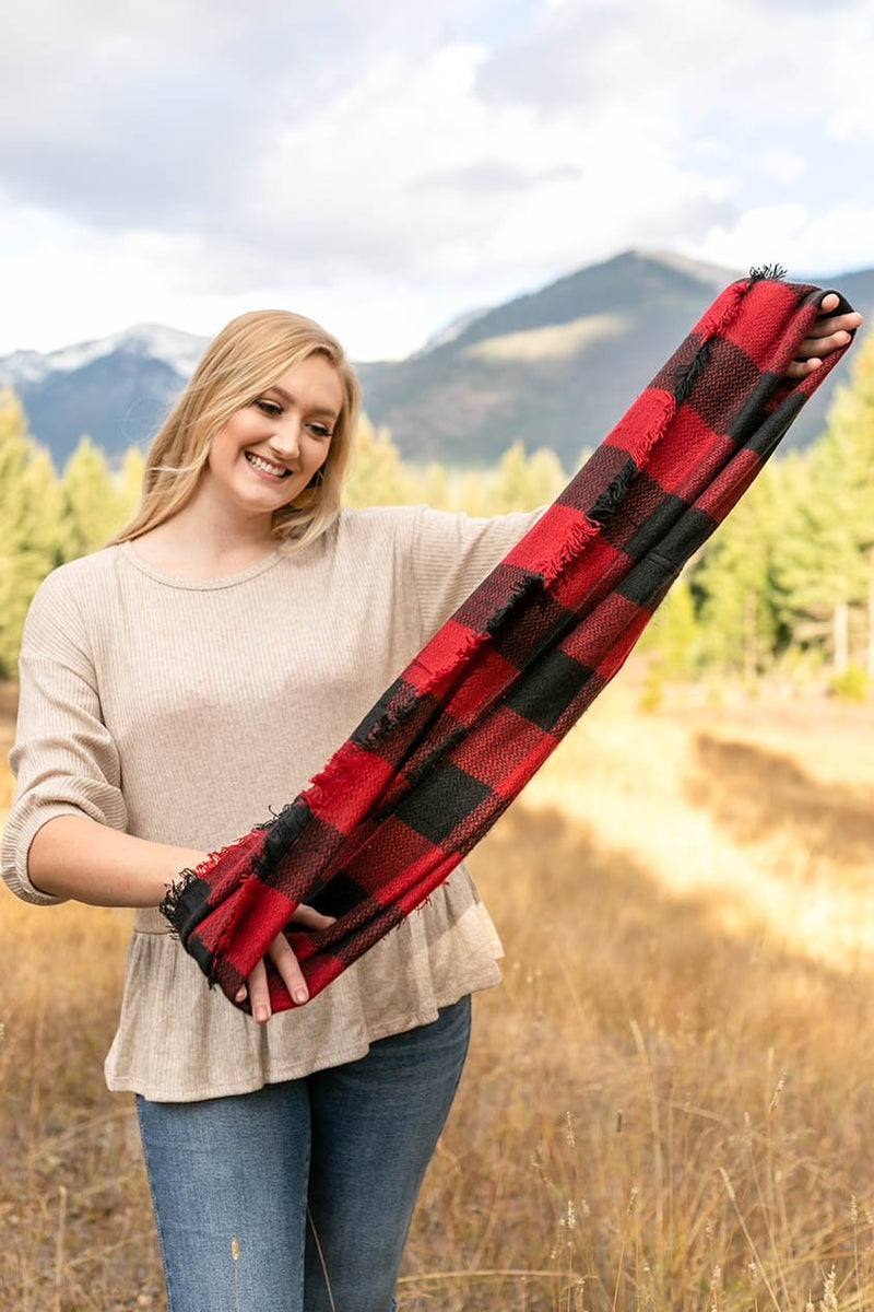 All Tied Up In You Red & Black Plaid Infinity Scarf
