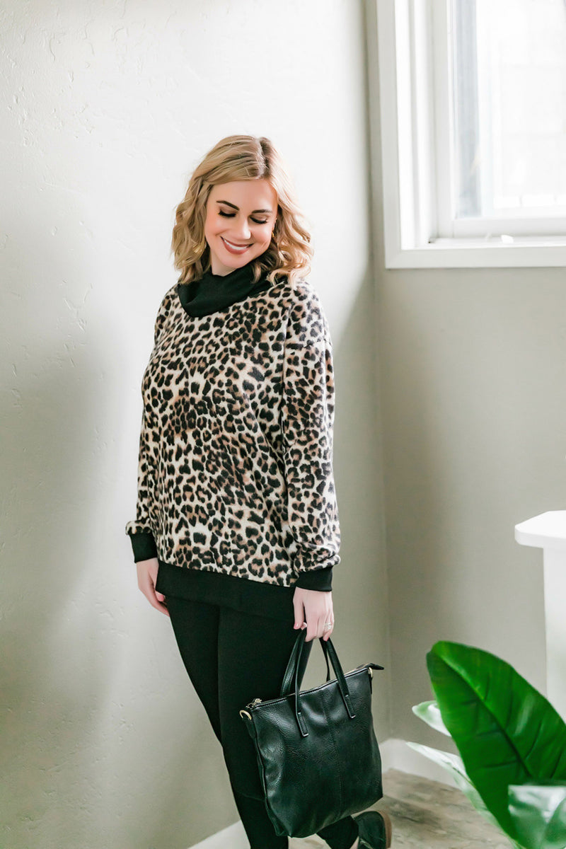 On The Wild Side Soft Cowl Neck Top
