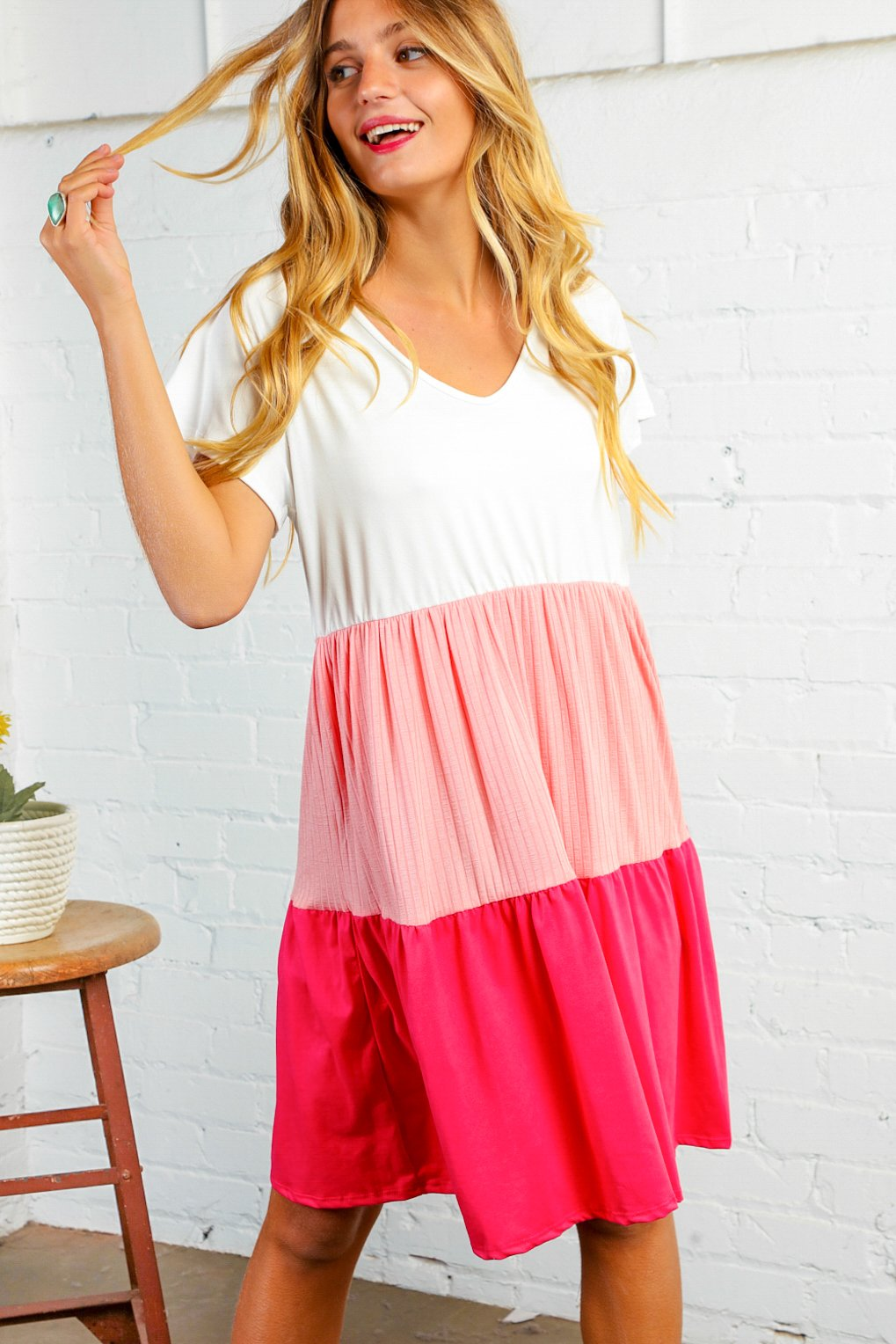 Ivory Coral Fuchsia Color Block Dress