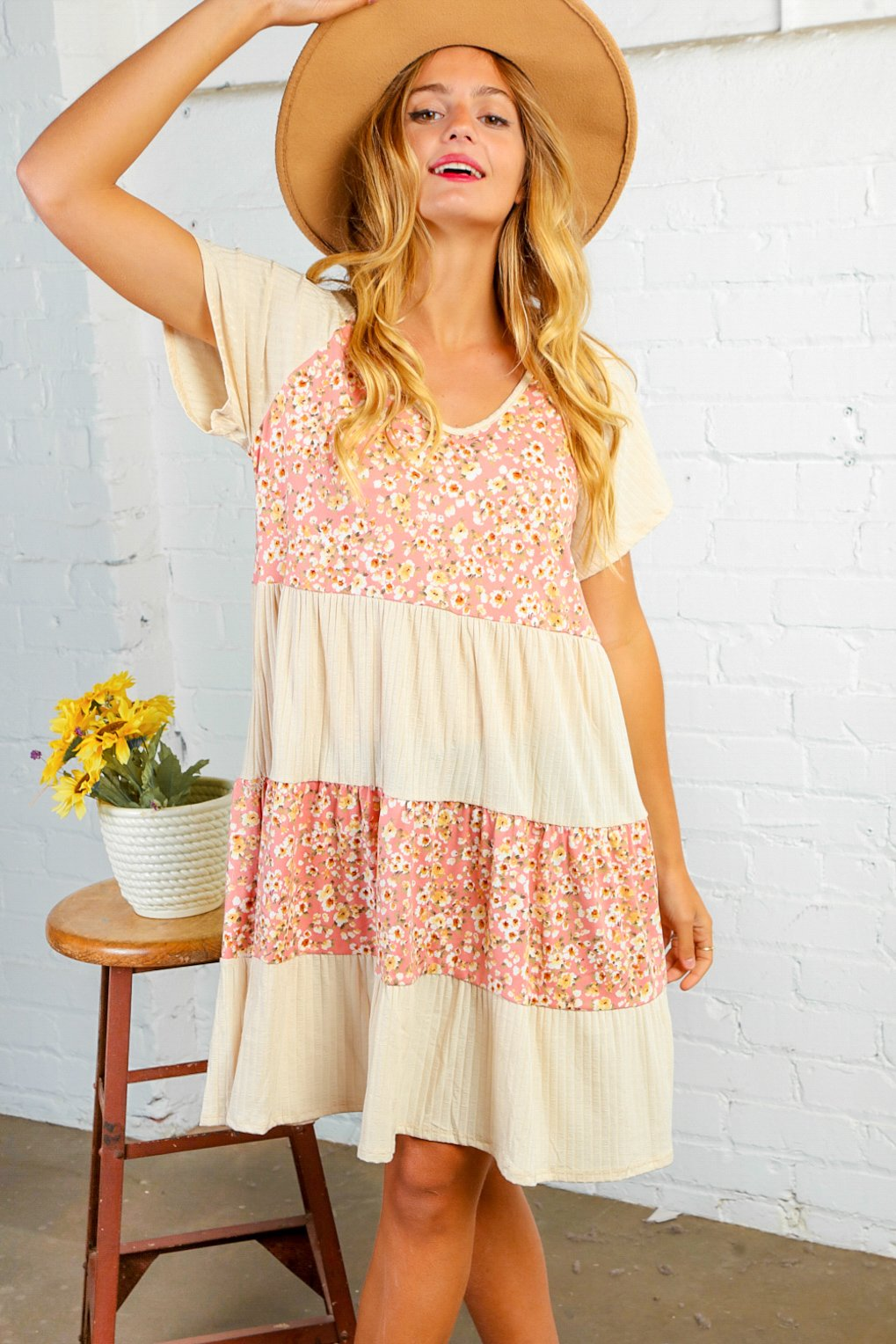 Floral Color Block Tiered Midi Dress