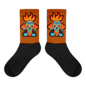 Flaming Zia Sugar Skull Socks