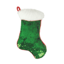 Mini Red and Green Stocking Reversible Sequin Pillow