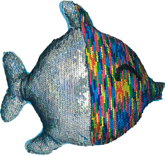 Rainbow Fish Reversible Sequin Pillow