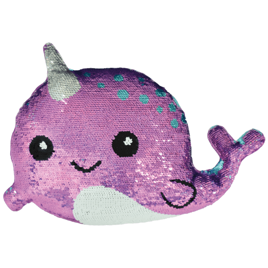 Narwhal Reversible Sequin Pillow