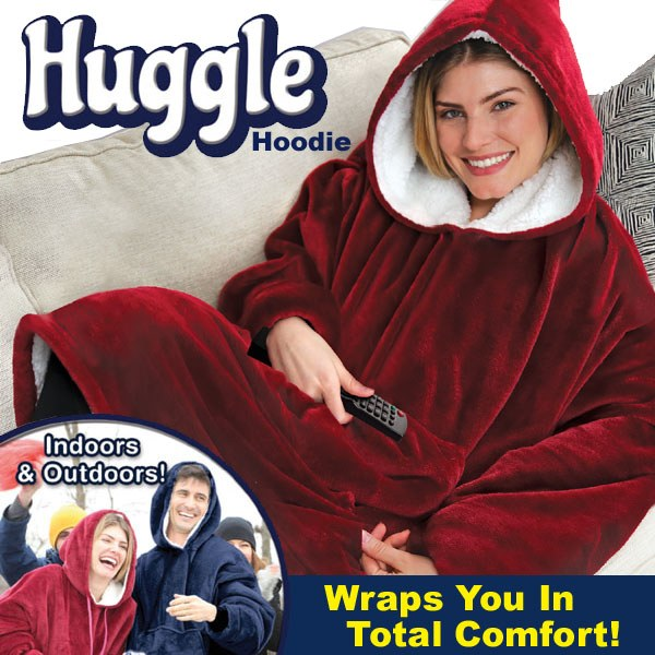 Huggle Sherpa Hoodie Throw / Hooded Blanket