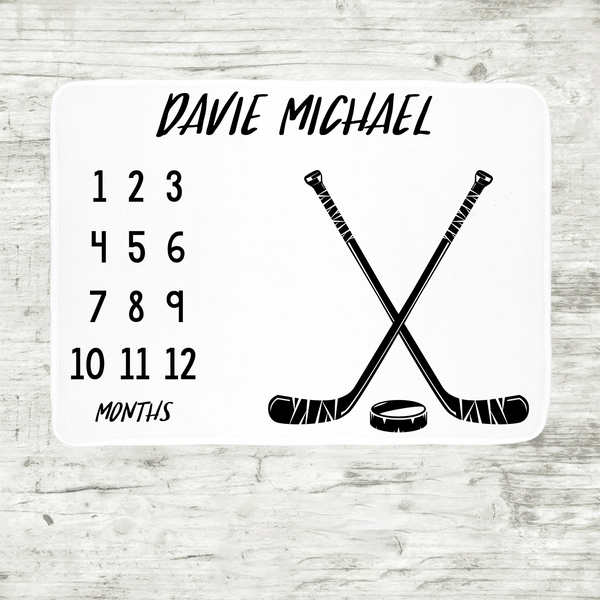Personalized Baby Month Milestone Blanket - Hockey-Blanket-decor2house