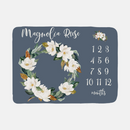 Personalized Baby Month Milestone Blanket -Magnolia Wreath-Blanket-decor2house