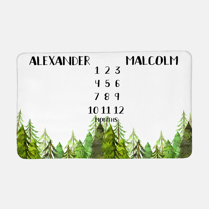 Personalized Baby Month Milestone Blanket - Forest Adventure-Blanket-decor2house