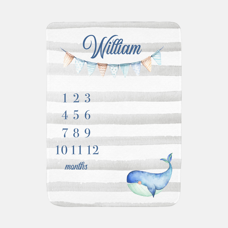 Personalized Baby Month Milestone Blanket - Whale Baby-Blanket-decor2house