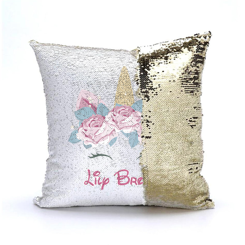 Personalized Unicorn Sequin Shimmer Pillow Cover - Birthday Pillow