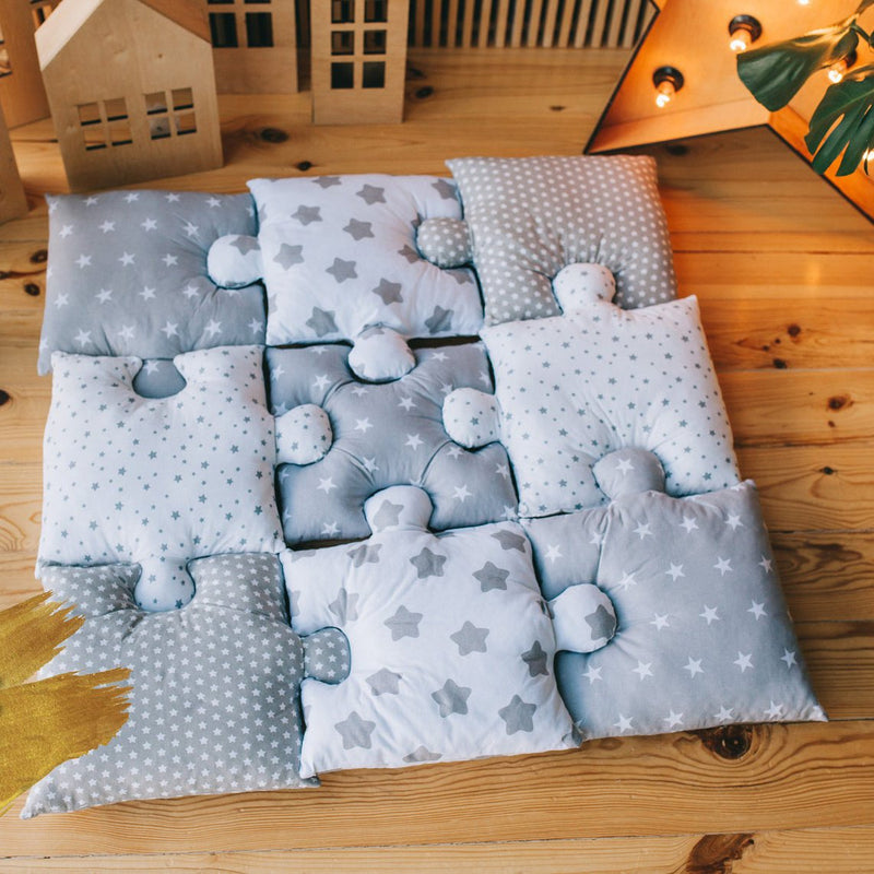 9pc Puzzle Shape Baby Play Mat - Star-Puzzle Play Mat-decor2house