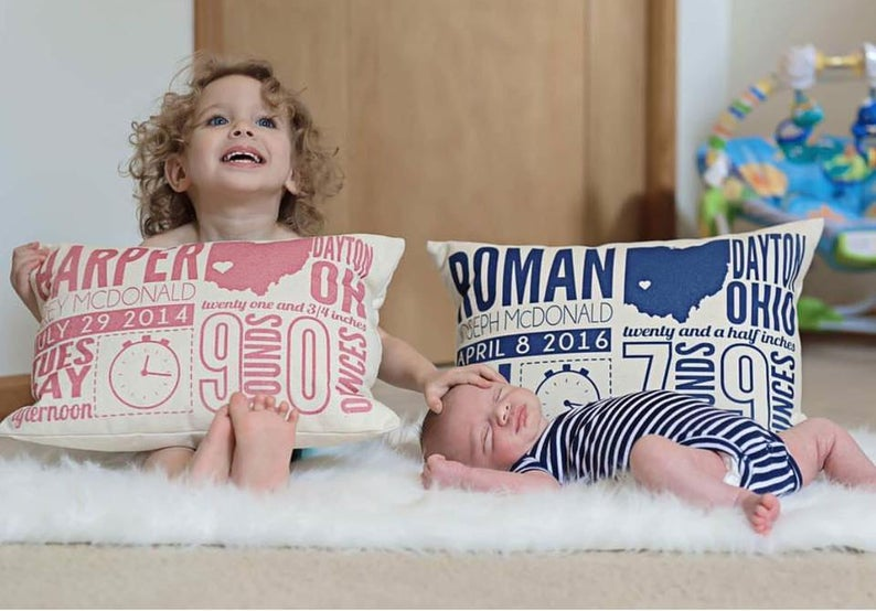 Personalized Announcement Pillow for New Baby Boy, Girl Gift - Nursery Decor