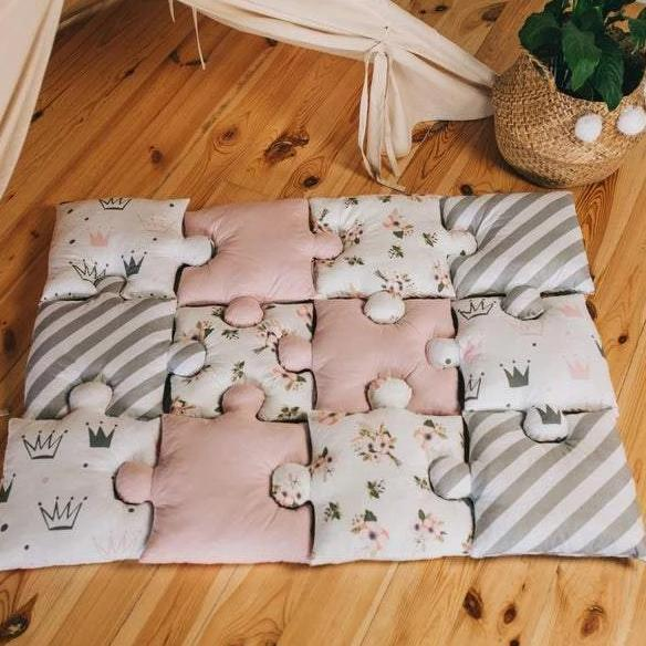 9pc Puzzle Shape Baby Play Mat - Grey and Pink-Puzzle Play Mat-decor2house