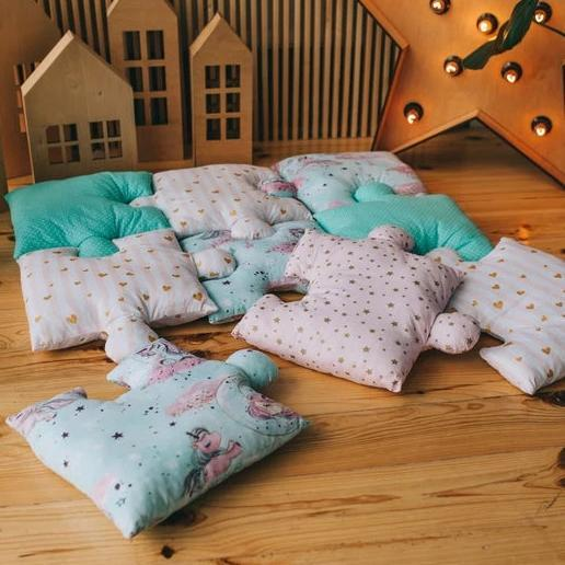 9pc Puzzle Shape Baby Play Mat - Unicorn and Gold-Puzzle Play Mat-decor2house
