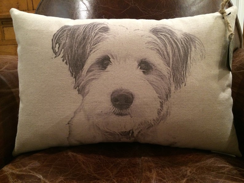 Personalized Custom Personalized Pet Face Pillow on Canvas for Pets Ownner