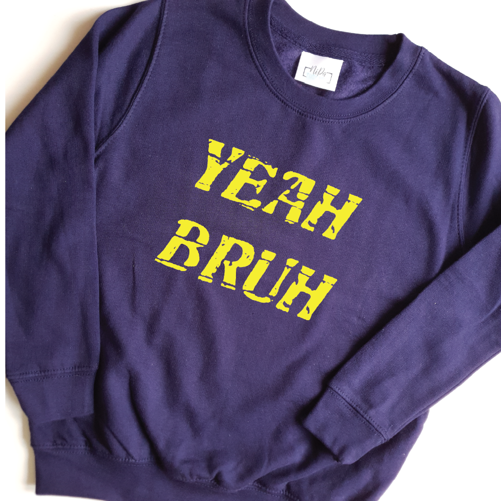 navy unisex sweatshirt with yellow yeah bruh slogan print
