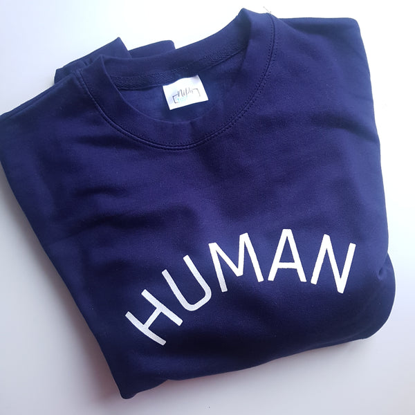 Oxford navy adult unisex sweatshirt with the HUMAN slogan in white ink.