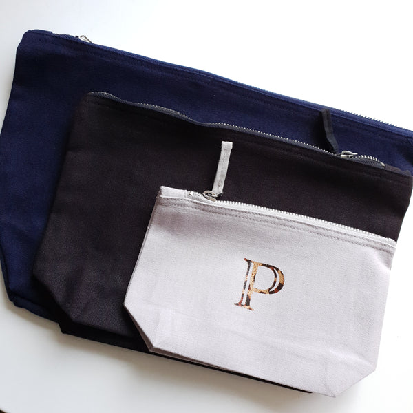 showing the 3 different size pouches. Large navy blue, medium black and small grey with P in leopard print foil.