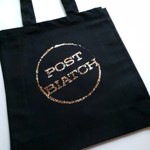 Black tote bag with leopard print post biatch slogan