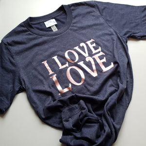 Navy unisex tee with rose gold i love love slogan