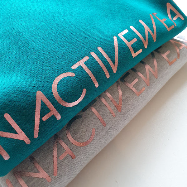 Jade and grey sweatshirts with rose gold inactivewear prints