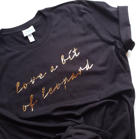 Black tee with leopard foil love a bit of leopard slogan
