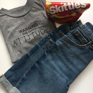 Warning May Contain Attitude Kids Unisex T-Shirt