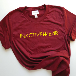 cardinal red unisex tee with yellow ink inactivewear slogan print