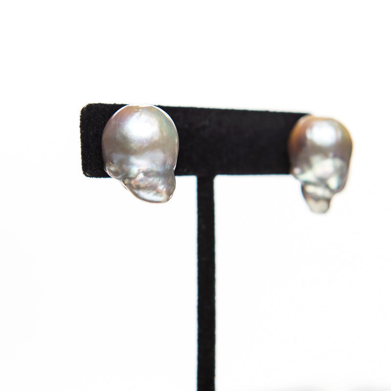 Grey Baroque Pearl Earrings