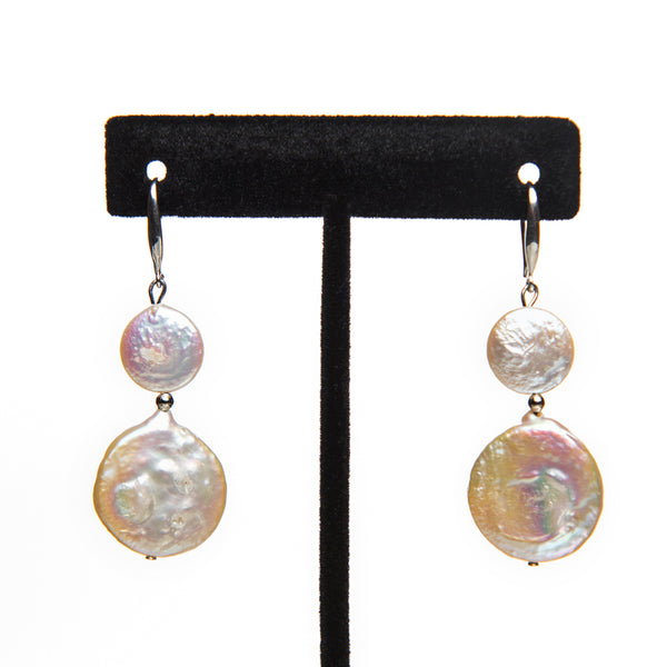 Flat Coin Pearl Earrings