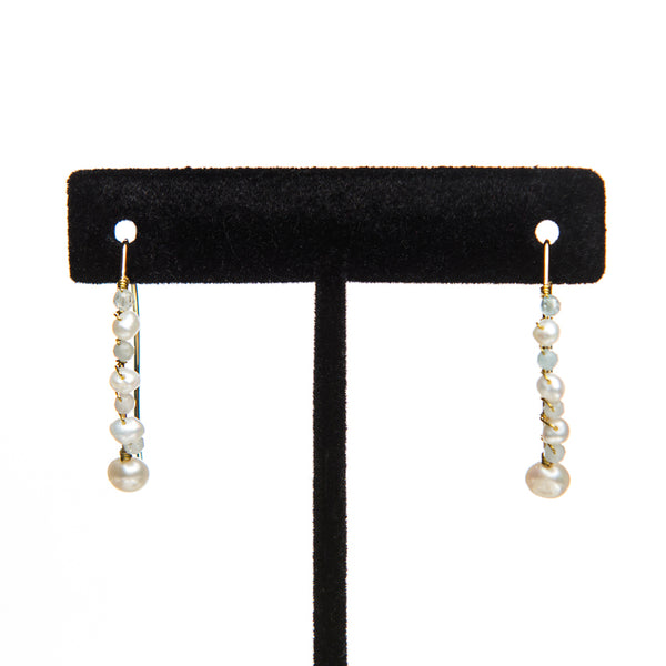 Covered Bangle Pearl Earrings