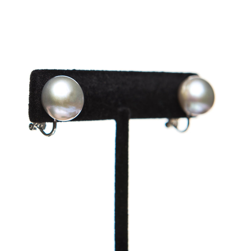 Grey Pearl Clip On Earrings