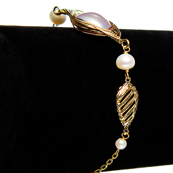 Wrapped Pearl Chain Bracelet