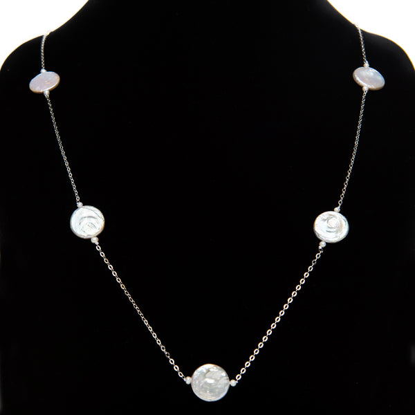 Coin Pearl Chain Necklace