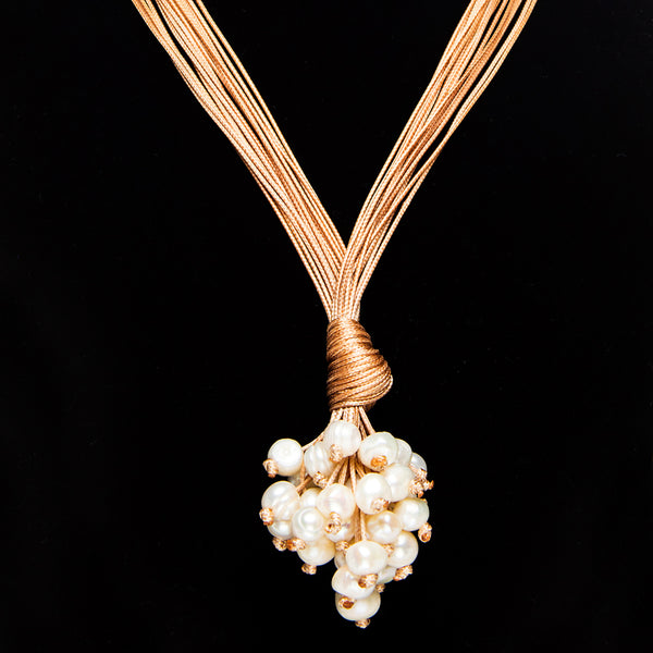 Silk Pearl Cluster Necklace