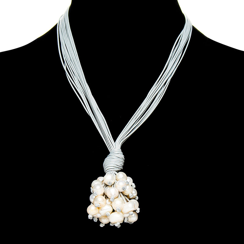 Pearl Cluster Suede Necklace