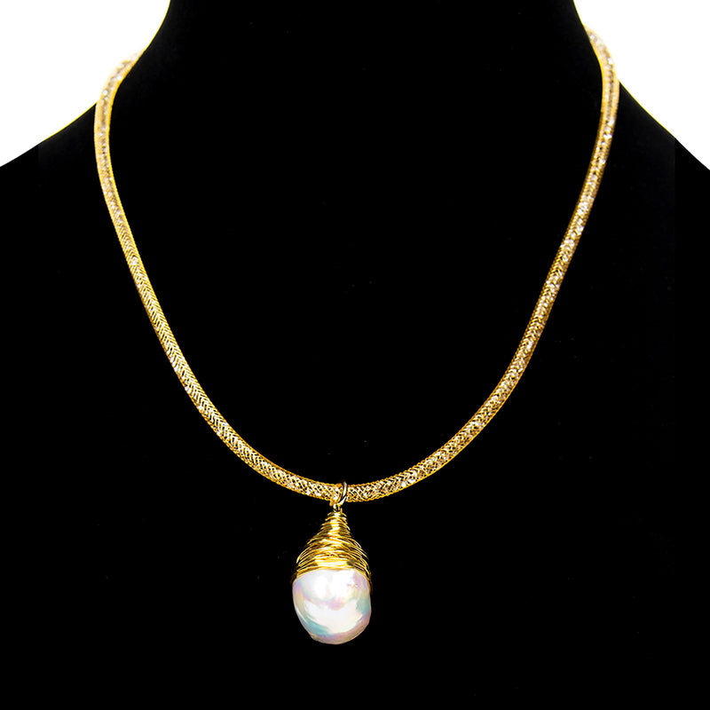Large Pearl Mesh Necklace