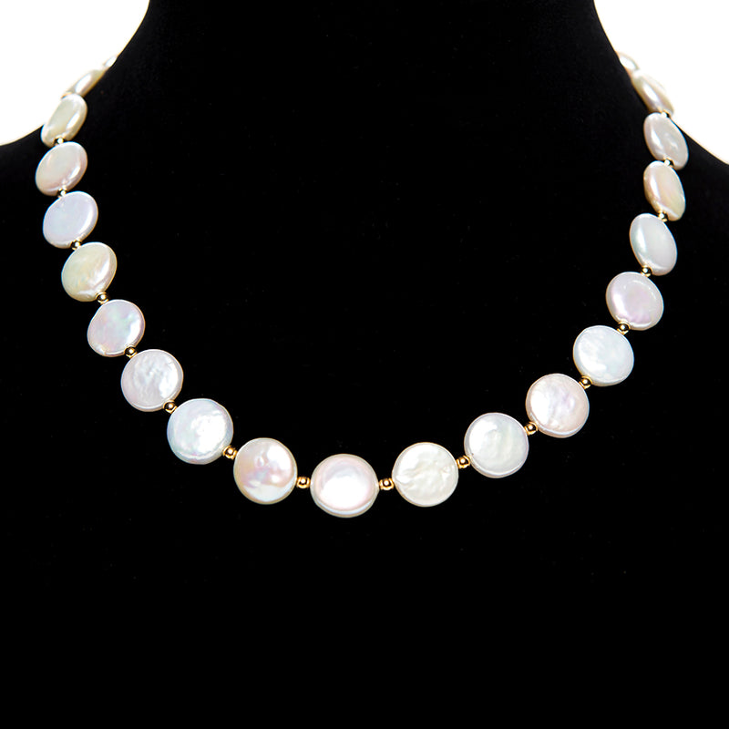 18k Gold Coin Pearl Necklace
