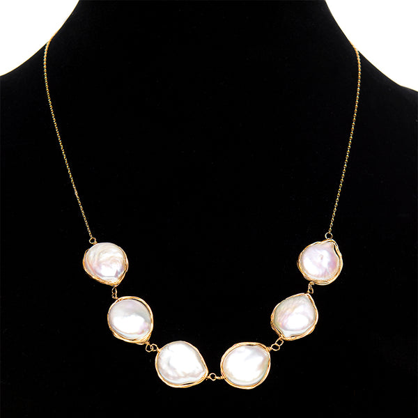 Wrapped Coin Pearl Necklace