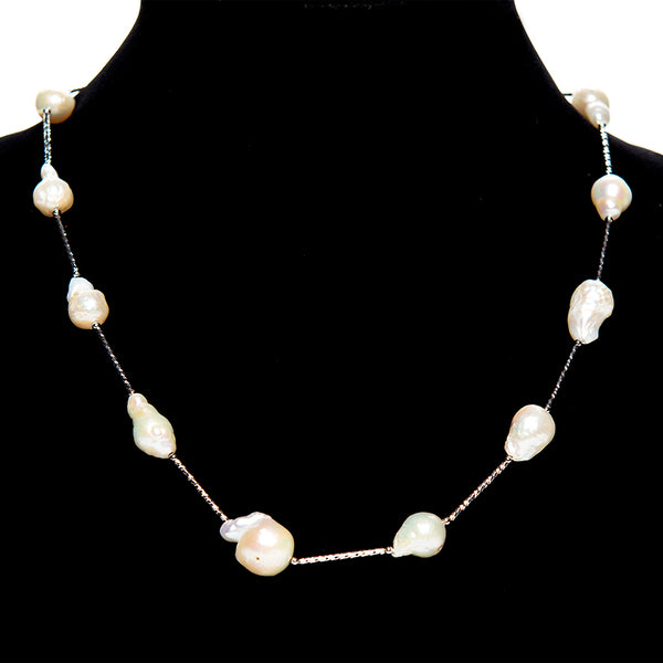 Silver Bar Pearl Necklace