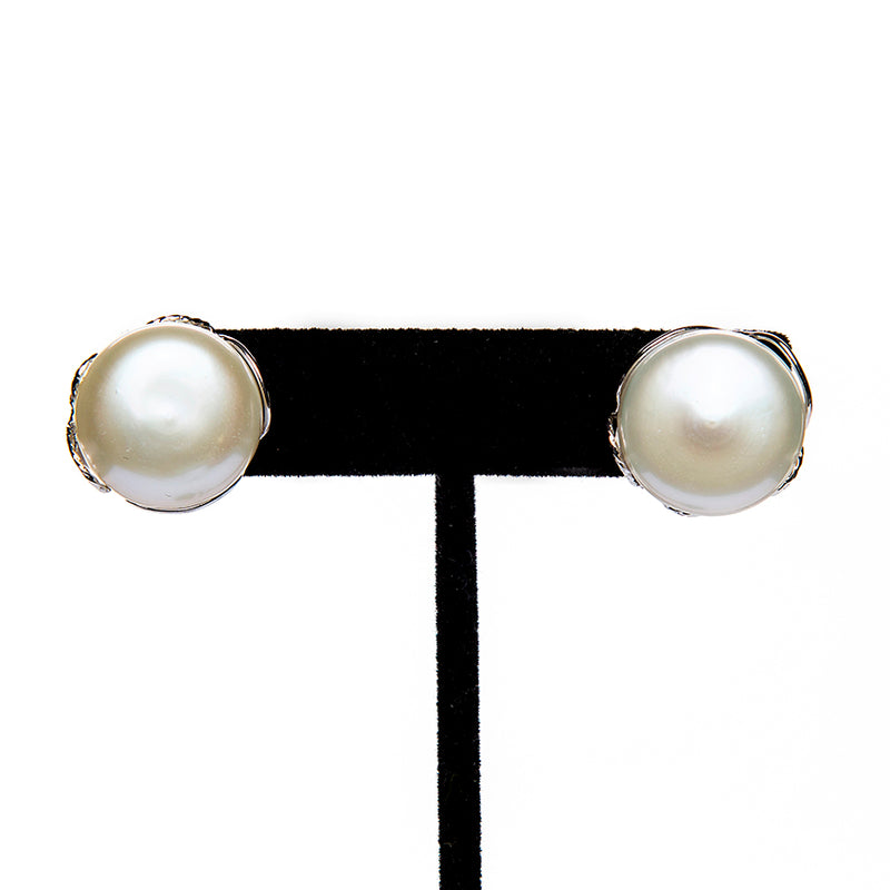 Wrapped Button Pearl Earrings